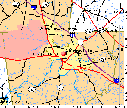 Clarksville, TN map