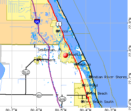 Sebastian, FL map