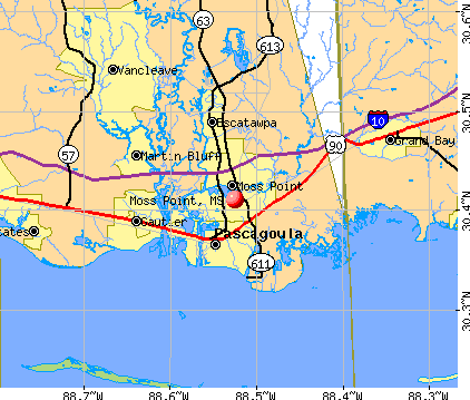 Moss Point, MS map