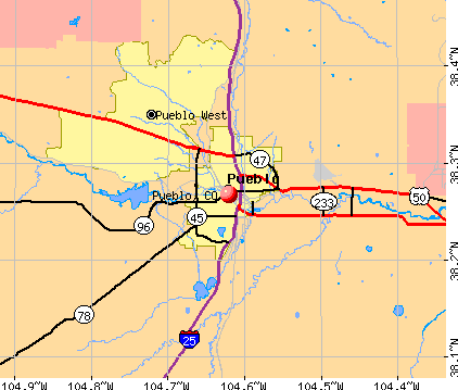 Pueblo, CO map