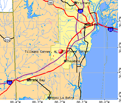 Tillmans Corner, AL map