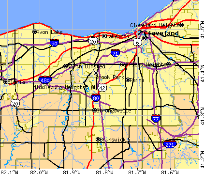 Middleburg Heights, OH map