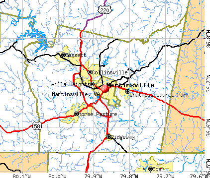Martinsville, VA map