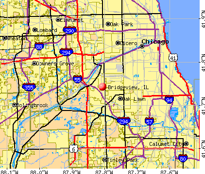 Bridgeview, IL map