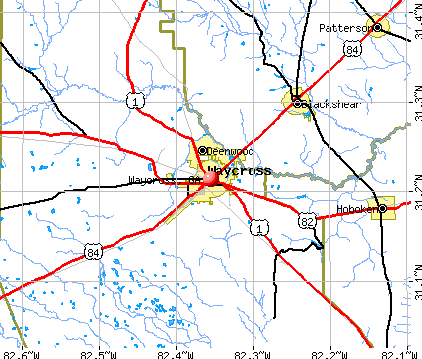Waycross, GA map