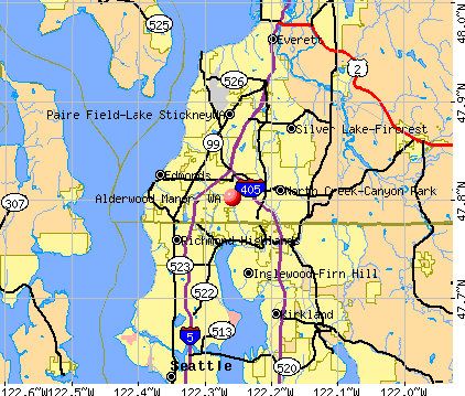 Alderwood Manor, WA map