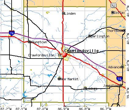 Crawfordsville, IN map