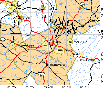 Athens-Clarke County, GA map
