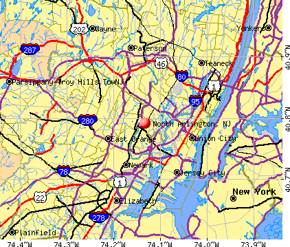 North Arlington, NJ map