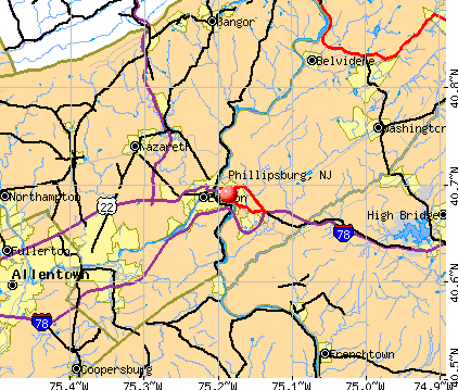 Phillipsburg, NJ map