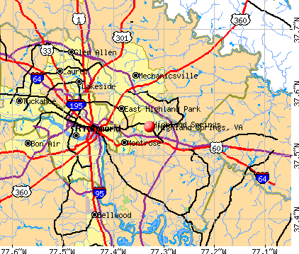 Highland Springs, VA map
