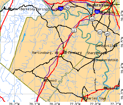 Martinsburg, WV map