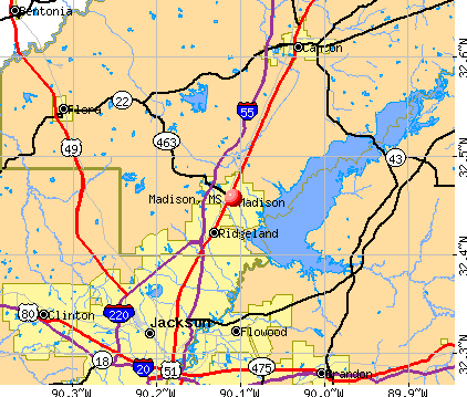 Madison, MS map