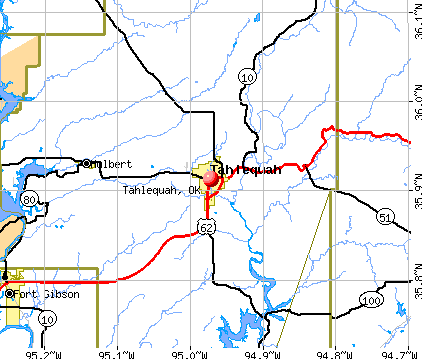 Tahlequah, OK map