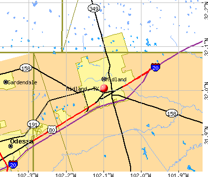 Midland, TX map