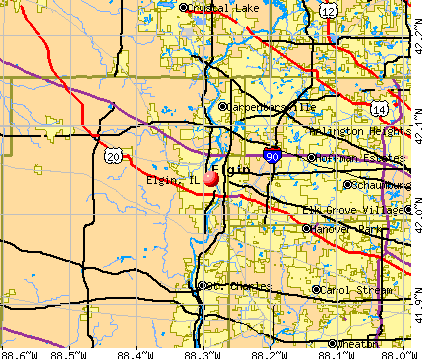 Elgin, IL map