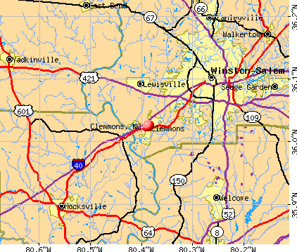 Clemmons, NC map