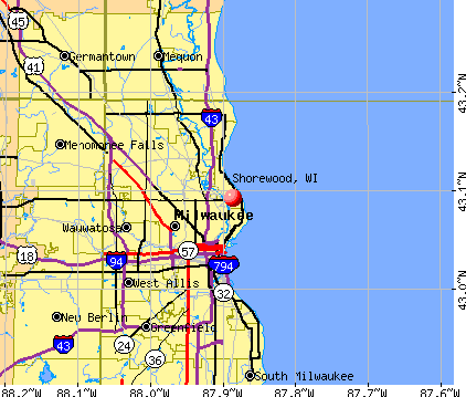 Shorewood, WI map