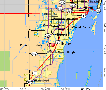 Palmetto Estates, FL map