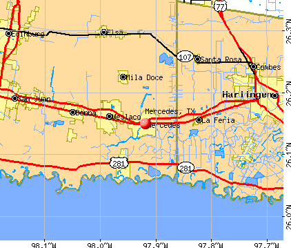 Mercedes, TX map