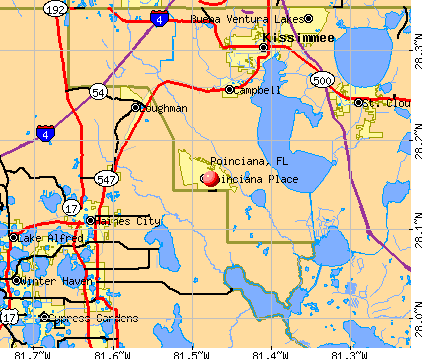 Poinciana, FL map