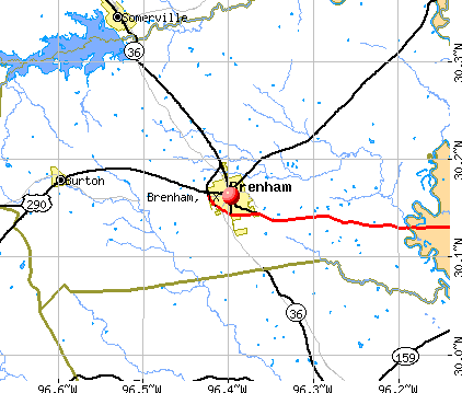 Brenham, TX map