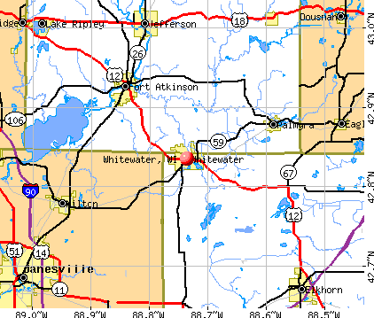 Whitewater, WI map