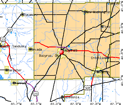 Bucyrus, OH map