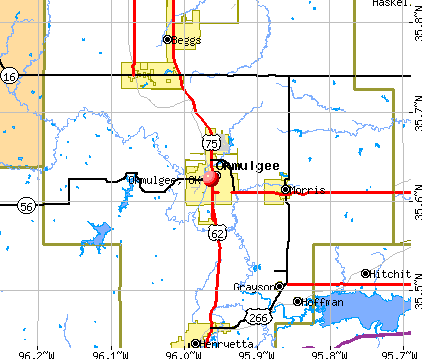 Okmulgee, OK map