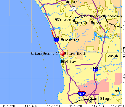 Solana Beach, CA map