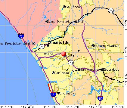Vista, CA map