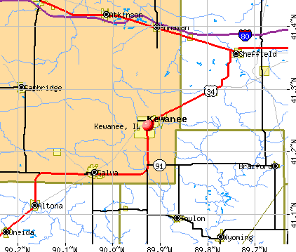 Kewanee, IL map