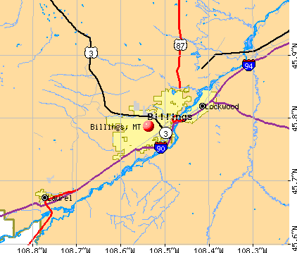 Billings, MT map