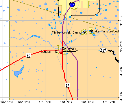 Canyon, TX map