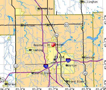 Beecher, MI map