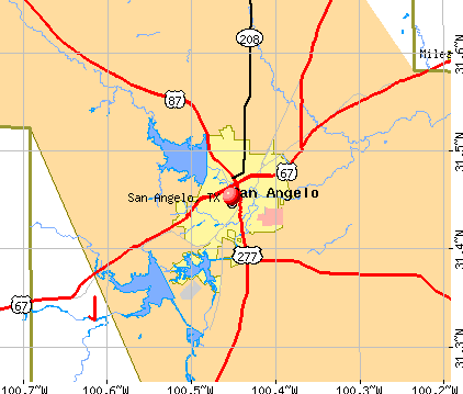 San Angelo, TX map