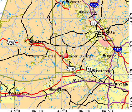 Powder Springs, GA map