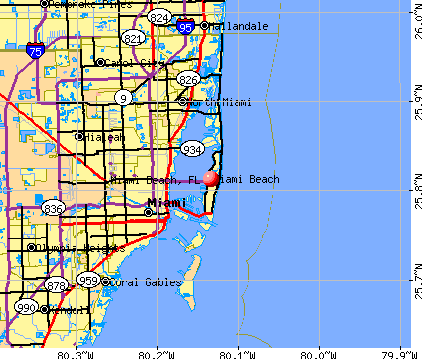 Miami Beach, FL map