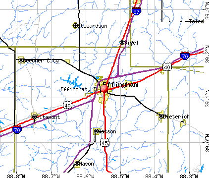 Effingham, IL map
