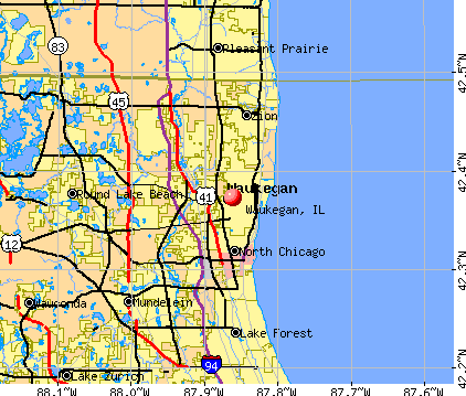 Waukegan, IL map