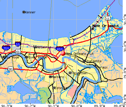 New Orleans, LA map
