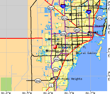 Westwood Lakes, FL map