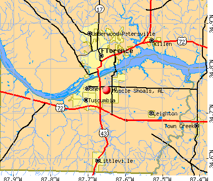 Muscle Shoals, AL map