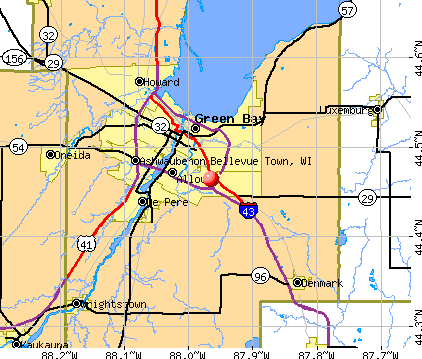 Bellevue Town, WI map
