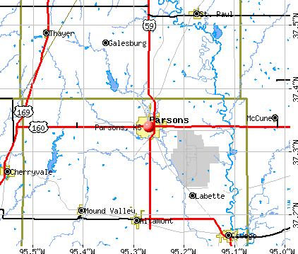 Parsons, KS map