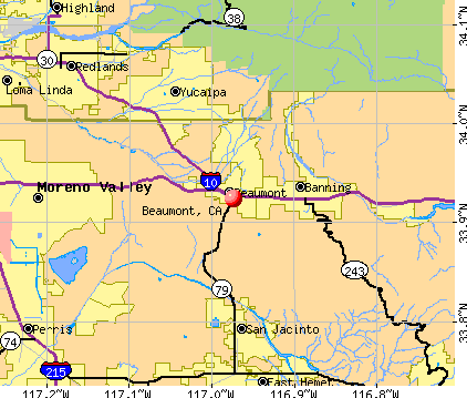 Beaumont, CA map