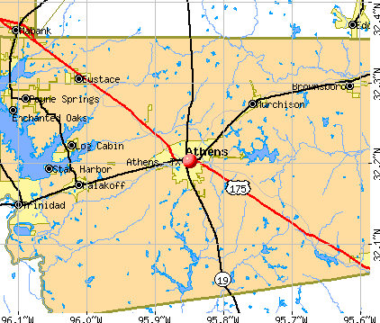 Athens, TX map