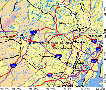 West Caldwell, NJ map