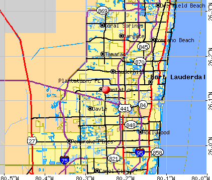 Plantation, FL map