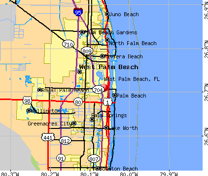 West Palm Beach, FL map